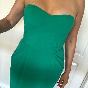 BCBG emerald color cocktail dress
